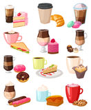 Coffee snack vector set. Cake with fresh strawberries, cream and coffee snack. Caffeine cappuccino and chocolate gourmet baked french bread. Fresh dessert Royalty Free Stock Photos