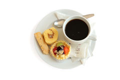 Coffee and snack. ( yamroll, fruit tart, bread stick Royalty Free Stock Photo