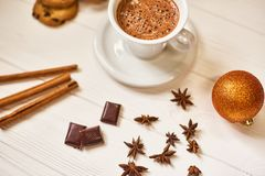 Coffee and snacks on the table on new year table. Coffee and cookies on the  white table on the New Year Royalty Free Stock Photo