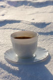 Coffee in the Snow Royalty Free Stock Photos