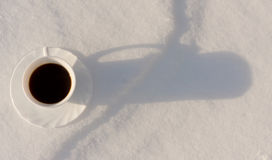 Coffee in the Snow. Fragrant hot cup of coffee in the winter on snow Stock Photography