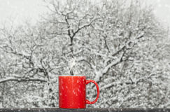 Coffee in the snow Stock Photo
