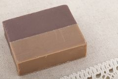 Coffee soap on the woven tablecloth. Horizontal Stock Images