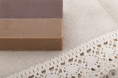 Coffee soap on the tablecloth. Coffee soap on the woven tablecloth horizontal Stock Photos