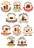 Coffee sorts emblems set for cafe. Coffee emblems set for cafe, restaurant. Vector icons of of irish cream, coffee latte, espresso, macchiato, coffee mill, cezve royalty free illustration