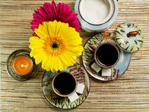 Coffee Spa. Relaxing cups of coffee in beautiful surrounding Royalty Free Stock Photo