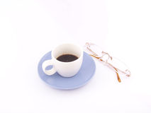Coffee and spectacles. For morning news reading Royalty Free Stock Images