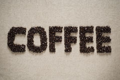 Coffee spelled with beans. royalty free stock photography