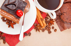 Coffee with spices and cake Stock Images
