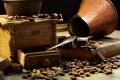 Coffee, spices and chocolate. Stock Images