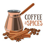 Coffee and spices. Coffee in copper ibrik, coffee beans and spices. Vector illustration stock illustration