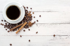 Coffee and spices on white background Royalty Free Stock Photos