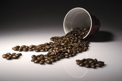 Coffee spill. Coffee cup spill beans spot light Royalty Free Stock Photos