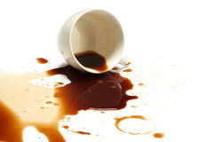 Coffee spill stain accident white background Royalty Free Stock Photo