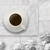 Coffee spilling out of a cup 3d on crumpled paper backgrouund. As concept royalty free stock image