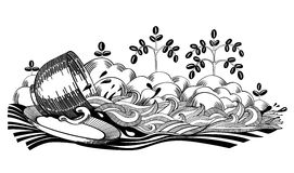 Coffee Spilt. Illustration with cup and saucer, composition of spilling coffee creating abstract stream between cream foam like riverside and trees with coffee vector illustration