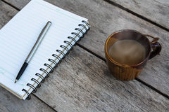 Coffee and spiral notebook Stock Photo