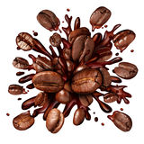 Coffee Splash. With coffee beans flying out as a dark roast brew with splashing fresh hot brewed liquid as a symbol for a breakfast drink isolated on a white Stock Photography