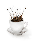 Coffee Splash From Cup. Hand drawn watercolor painting on white background Stock Image