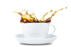 Coffee splash before white Stock Photography