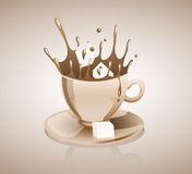 Coffee splashing. Sugar cubes making a splash in a cup of coffee Stock Photography