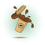 Coffee split from mug. vector illustration