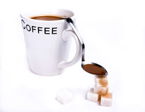 Coffee with spoon and sugar Stock Photo