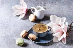 Coffee with spring flowers stock photos