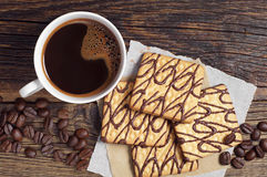 Coffee with square cookies Royalty Free Stock Photos