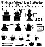 Coffee staff silhouettes Royalty Free Stock Photos
