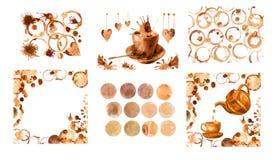 Coffee stain set Stock Photos