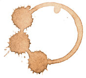 Coffee stain, splash isolated on white background Royalty Free Stock Photos