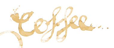 Coffee Stain Text Vector. Coffee written as a word in coffee stains isolated on white in vector royalty free illustration