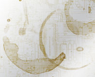 Coffee stained schematic background Royalty Free Stock Photo
