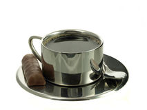 Coffee in stainless steel cup stock photo