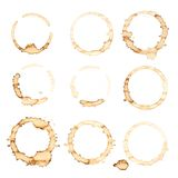 Coffee stains. Nine coffee stains isolated over white background Stock Photography