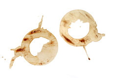 Coffee Stains. Two coffee stains on white background royalty free stock image