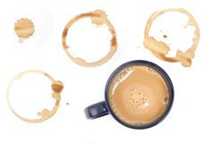 Coffee stains. Assorted coffee stains on white background 21 MP royalty free stock photography