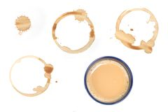 Coffee stains. Assorted coffee stains on white background 21 MP stock image