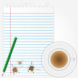 Coffee stains on blank paper sheet. With pencil Royalty Free Stock Photography