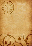 Coffee Stains & Clock Vellum Parchment Background Royalty Free Stock Photography