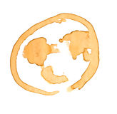 Coffee stains  earth shape  Stock Photos