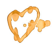 Coffee stains  heart shape  Stock Image