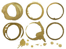 Coffee stains. Photo of six coffee stains on white background Stock Images