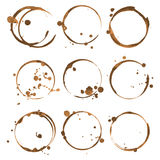 Coffee stains.. Traces coffee splashes set. Vector Stock Photo
