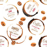 Coffee stains with type designs seamless pattern Royalty Free Stock Images