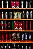 Coffee. Starbucks coffee and mugs and travel mugs colors Stock Images