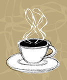 Coffee and steam. Illustration sketch of a cup of hot coffee and steam Stock Image
