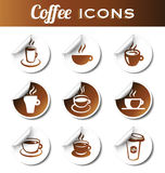 Coffee Stickers. Nine coffee icons for web or print Stock Images