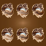 Coffee stickers labels. Stickers with different kinds of coffee Stock Images